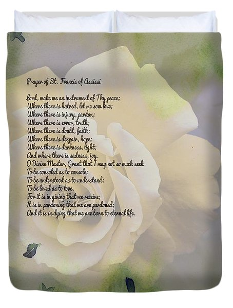 Prayer Of St. Francis And Yellow Rose Duvet Cover by Barbara Griffin