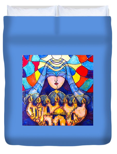 Duvet Cover featuring the painting Prayer by Rae Chichilnitsky