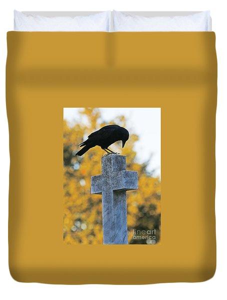 Praying Crow On Cross Duvet Cover