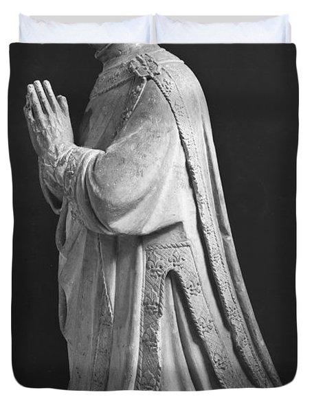 Praying Kneeling Figure Of Duc Jean De Berry 1340-1416 Count Of Poitiers Duvet Cover