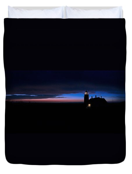 Pre Dawn Light Panorama At Quoddy Duvet Cover