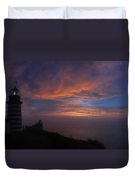 Pre Dawn Lighthouse Sentinal Duvet Cover by Marty Saccone