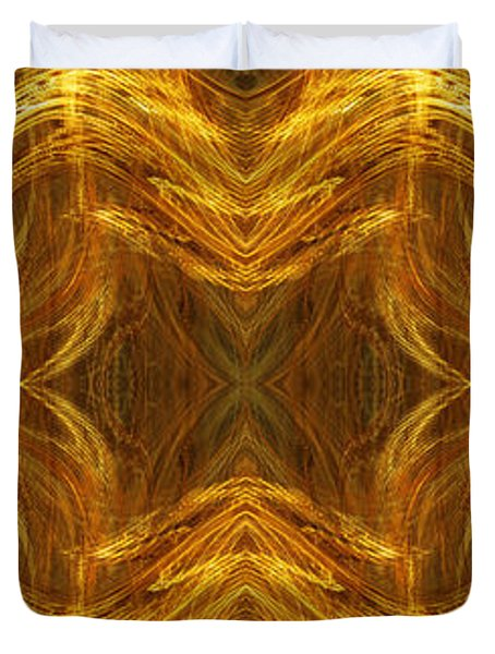 Precious Metal 3 Ocean Waves Dark Gold Duvet Cover by Andee Design
