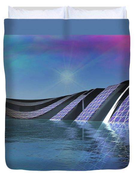 Duvet Cover featuring the digital art Precious Water Alien Landscape by Judi Suni Hall