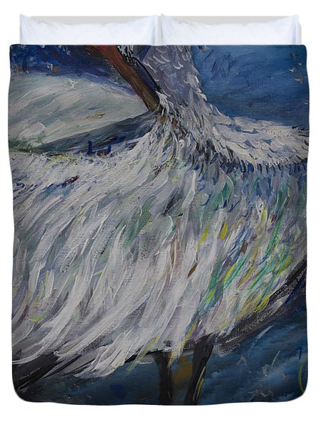 Duvet Cover featuring the painting Preening Crane by Avonelle Kelsey
