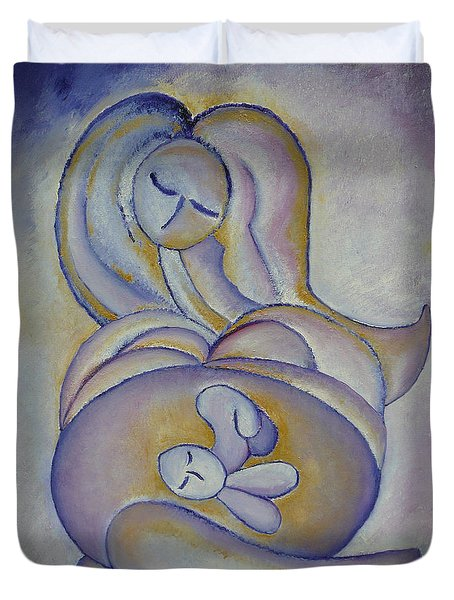 Pregnancy Oil Painting In The Belly Original By Gioia Albano Duvet Cover