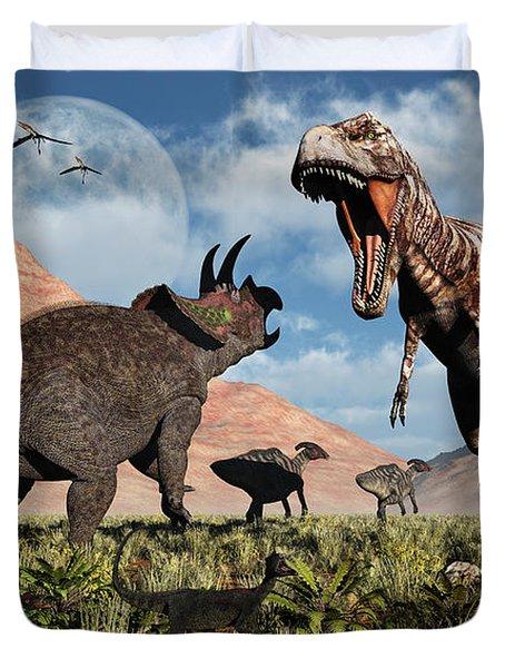 Prehistoric Battle Duvet Cover by Mark Stevenson