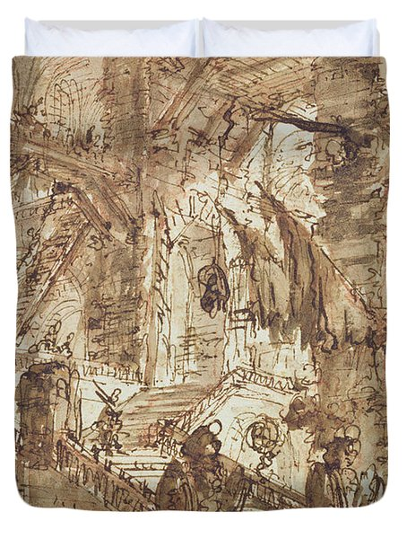 Preparatory Drawing For Plate Number Viii Of The Carceri Al'invenzione Series Duvet Cover by Giovanni Battista Piranesi
