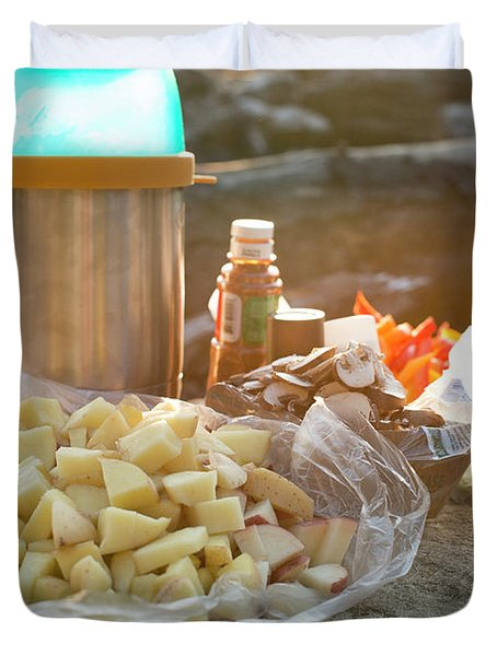 Preparing Dinner On A Beach In Oregon Duvet Cover