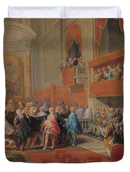 Presentation Of The Order Of The Holy Spirit To Prince Vaini By Paul-hippolyte De Beauvillers Duvet Cover