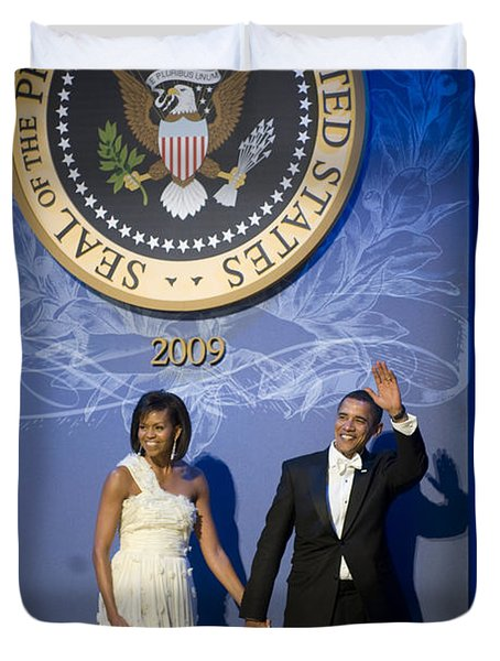 President And Michelle Obama Duvet Cover by had J McNeeley