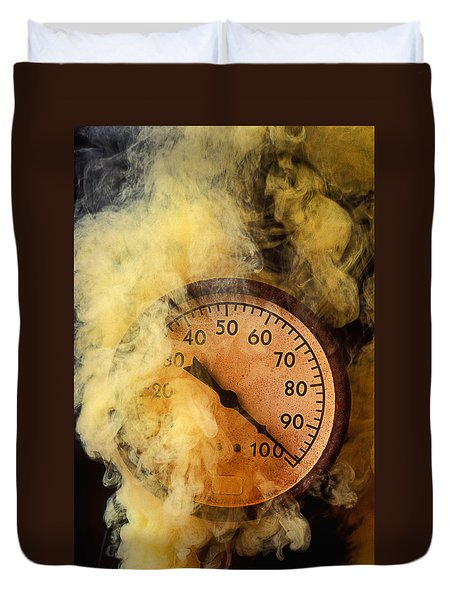 Pressure Gauge With Smoke Duvet Cover by Garry Gay