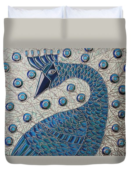 Pretty As A Peacock  Duvet Cover by Cynthia Snyder