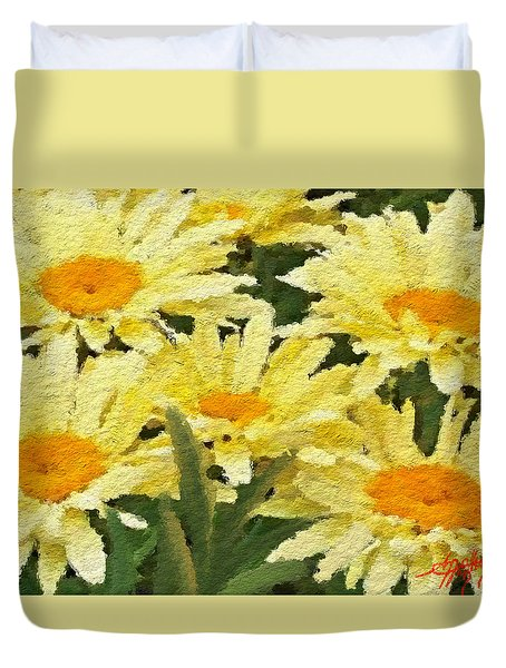 Duvet Cover featuring the painting Pretty Banana Cream Shasta by Anthony Fishburne