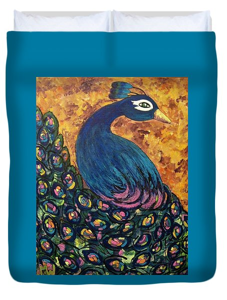 Duvet Cover featuring the painting Pretty Boy by Megan Walsh