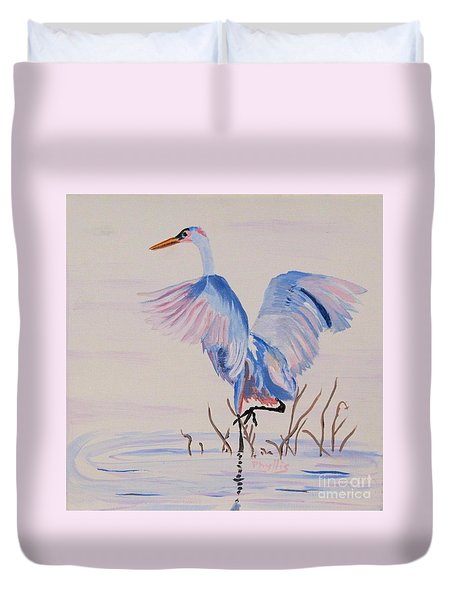 Duvet Cover featuring the painting Pretty Crane by Phyllis Kaltenbach