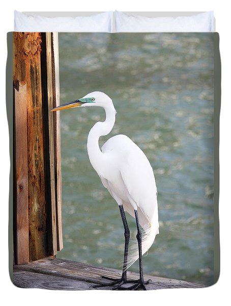 Pretty Great Egret Duvet Cover