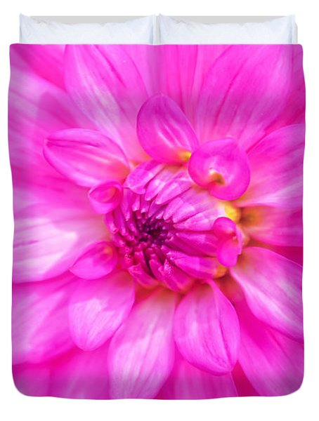 Pretty In Pink Dahlia Duvet Cover by Peggy Franz
