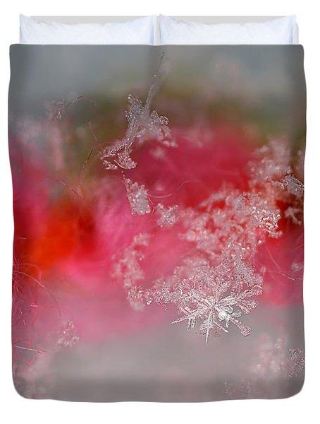 Duvet Cover featuring the photograph Pretty Little Snowflakes by Lauren Radke