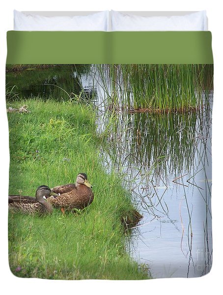 Duvet Cover featuring the photograph Mated Pair Of Ducks by Eunice Miller