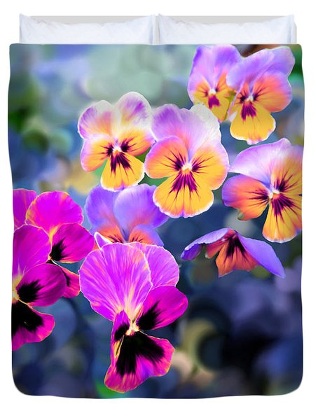 Pretty Pansies 3 Duvet Cover