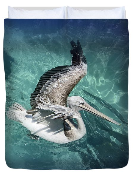 Duvet Cover featuring the photograph Pretty Pelican by Pennie  McCracken