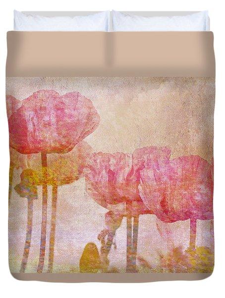 Pretty Poppy Garden Duvet Cover by Peggy Collins