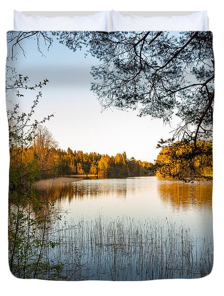 Pretty Spring Evening At The Lake Duvet Cover