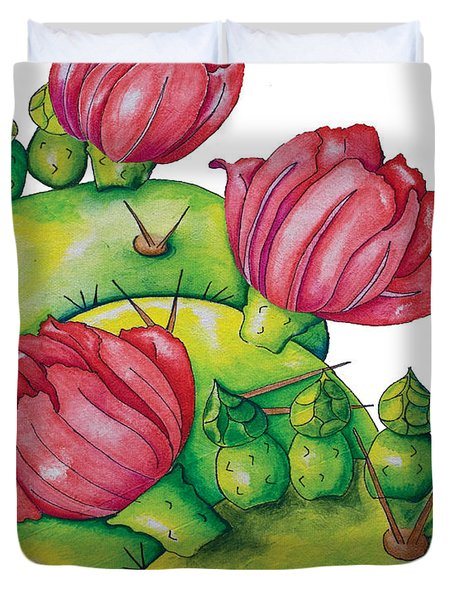 Prickly Pear Bloom Duvet Cover
