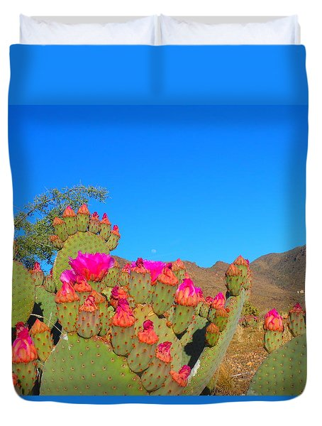Prickly Pear Blooming Duvet Cover