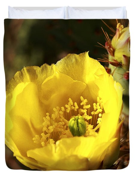 Prickly Pear Flower Duvet Cover by Alan Vance Ley