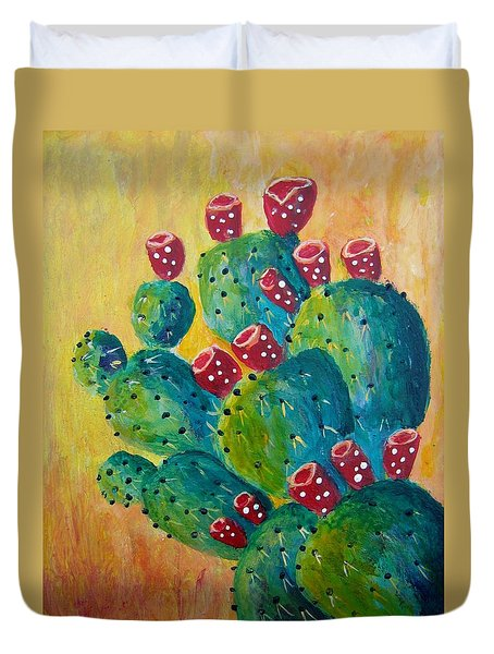 Prickly Pear Duvet Cover by Suzanne Theis