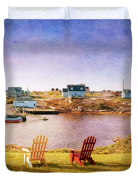 Primary Chairs - Digital Art Duvet Cover by Renee Sullivan