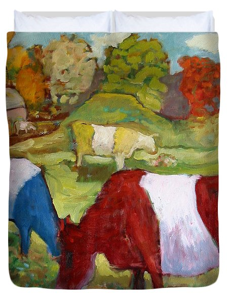 Primary Cows Duvet Cover