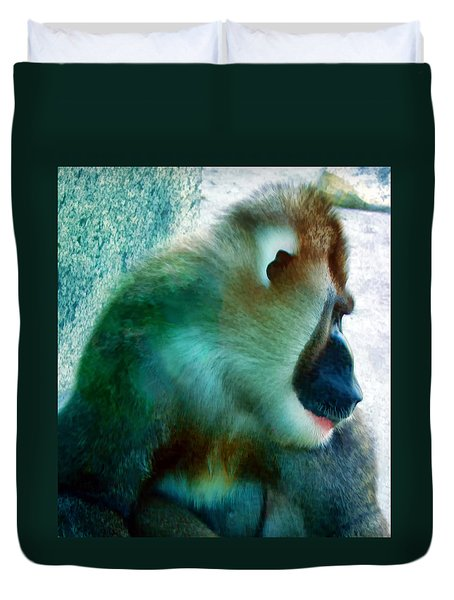 Duvet Cover featuring the photograph Primate 1 by Dawn Eshelman