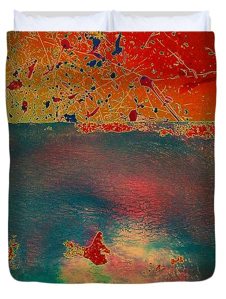 Duvet Cover featuring the painting Primordial by Jacqueline McReynolds