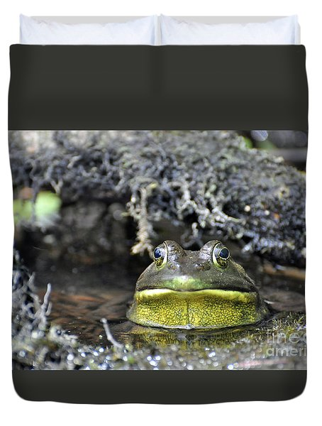 Duvet Cover featuring the photograph Bullfrog by Glenn Gordon