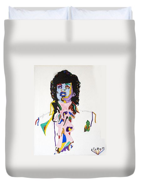 Duvet Cover featuring the painting Prince Purple Reign by Stormm Bradshaw