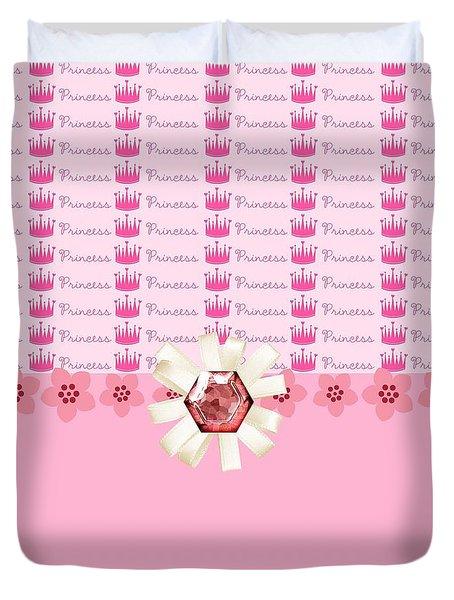 Princess Pink Crowns Duvet Cover by Debra  Miller