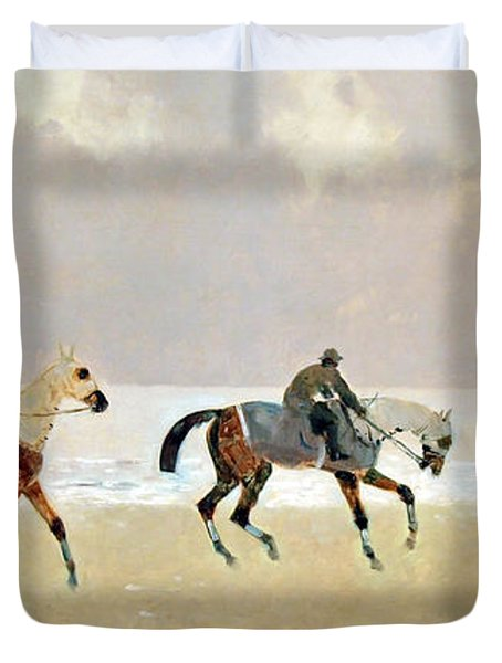 Princeteau's Riders On The Beach At Dieppe Duvet Cover