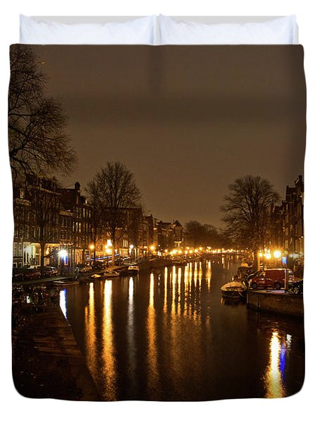 Duvet Cover featuring the photograph Prinsengracht Canal After Dark by Jonah  Anderson