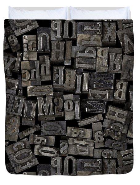Printing Letters 2 Duvet Cover by Bedros Awak
