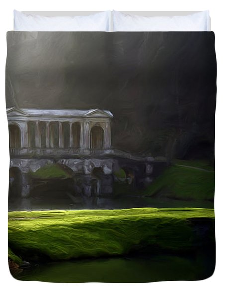Duvet Cover featuring the digital art Prior Park Bath by Ron Harpham