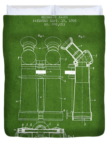 Prismatic Telescope Patent From 1908 - Green Duvet Cover