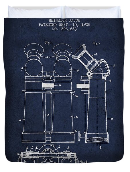 Prismatic Telescope Patent From 1908 - Navy Blue Duvet Cover