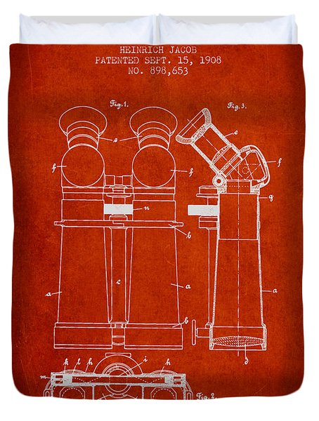 Prismatic Telescope Patent From 1908 - Red Duvet Cover