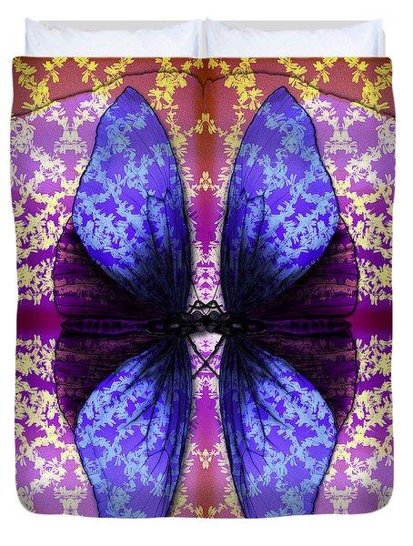 Duvet Cover featuring the digital art Prisoner Butterflies by Rosa Cobos