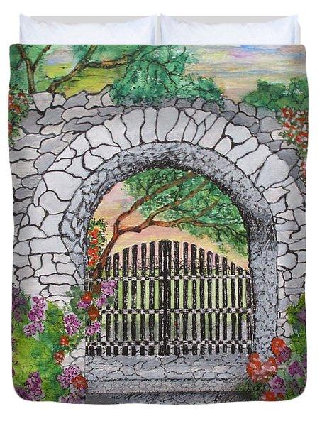 Private Garden At Sunset Duvet Cover