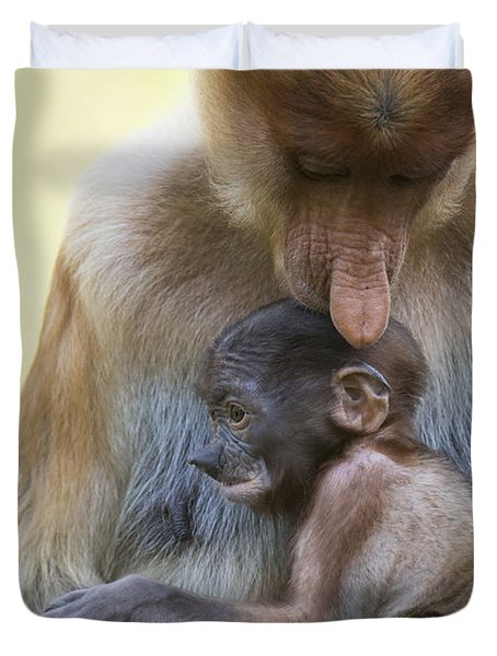 Proboscis Monkey Mother Holding Baby Duvet Cover