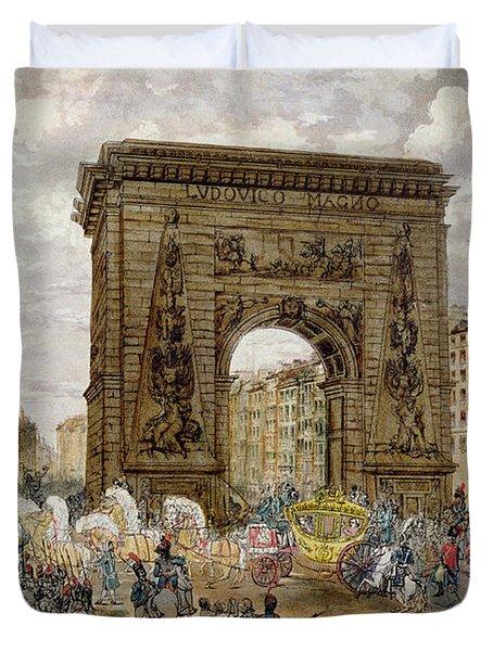 Procession Of Pope Pius Vii 1742-1823 In Paris, 28th November 1804 Coloured Engraving Duvet Cover